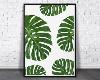 Best Selling Item, Tropical Leaves Print, Best Selling Print, Most Popular Item, Monstera Plant, Greenery Art, Printable Green, DIY Wall Art