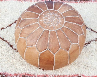 Moroccan leather pouf  handmade leather pouf  ottoman light Tan unstuffed / stuffed