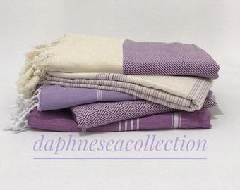 Shades of purple, Turkish towel, purple Turkish towel, Turkish beach towel, Turkish cotton towel, peshtemal, hammam towel, bath sheet