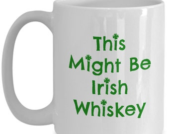 St Patrick's Day Irish Coffee Mug is a Four Leaf Clover Lucky Charm Gift for St Pattys Day. Saint Patricks Day Shamrock Irish Coffee Cup!