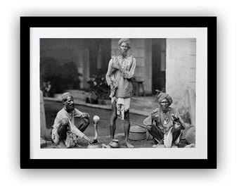 Snake Charmer India Photograph, Black White Photos, Historical Photos Prints, Indian Man and Cobra Snake