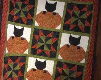 Mini Quilt Kit, Fall Quilt Kit, Autumn Quilt Kit, Cat Quilt Kit, Kitty Quilt Kit,  Table Topper Quilt Kit, Wall Hanging Quilt Kit
