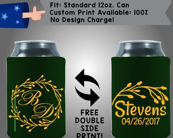 Initials Last Name Date Neoprene Wedding Can Cooler Double Side Print (W195)