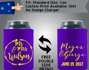 Mr. Mrs. Collapsible Fabric Wedding Can Coolers, Cheap Can Coolers,  Wedding Favors (W276)