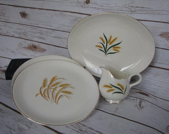 Four Pieces~ Royal Harvest Creamer~Serving Platter~ Golden Harvest 2 Dinner Plates ~ Homer Laughlin Harvest Plates~