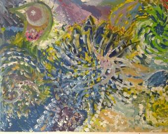 """painting,original painting,original acrylic painting,large painting,pink eye bird painting,28""""20""""  colorful painting , """""""