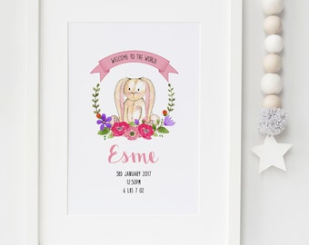 A4 Personalised Welcome to the World Bunny Rabbit Birth Detail Announcement Nursery Print or Card