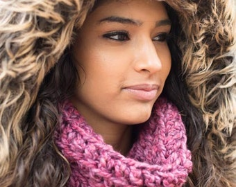 Magenta/Boysenberry Wool & Acrylic Valentine's Day Neck Warmer Scarf