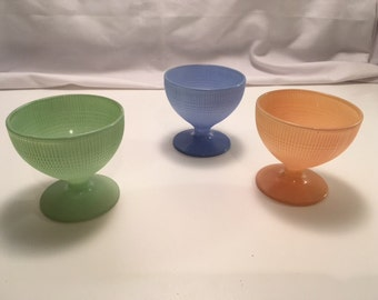 3 Saguenay pattern Montreal Dominion glass sherbets