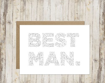 Best man card // Will you be my best man card // Thank you best man card // Wedding card // Card for best man //