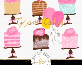 Glam Cake Clip Art   Cakes & Flowers Digital Graphics   Scrapbooking, Cards, Planner Stickers   Cliparts   Balloon   Fun e Bright