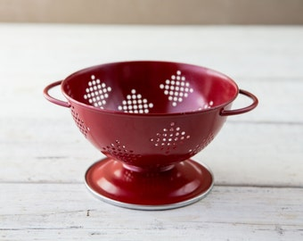 Small Red Enamel Strainer/Colander-Food Photography Prop