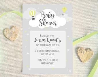 Baby shower invitation, Neutral gender baby shower invitation, Grey yellow baby shower
