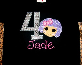Lalaloopsy inspired applique shirt or bodysuit