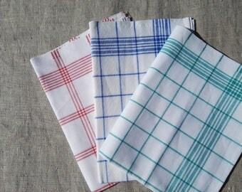 Linen Cotton Dish Towels, 3 Linen Kitchen Towels, Red Blue Green Checkered Tea Towels.