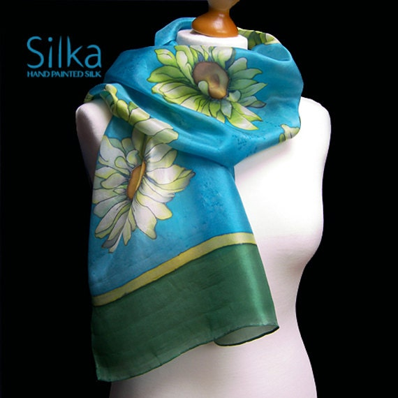 Blue  scarf Floral silk scarf  Silk scarf Hand painted silk scarf  Gift for her Handmade scarf Unique art Unique silk scarf Silk shawl