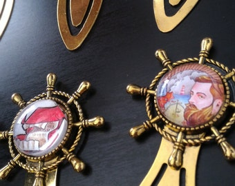 Bookmark Golden style rudder to cabochon - original drawings-