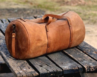 Leather Duffel Bag - Leather Weekend bag - Tan Leather Bag - Travel Bag - Gym Bag - Leather Shoulder Bag - Crossbody Bag - Men Overnight Bag