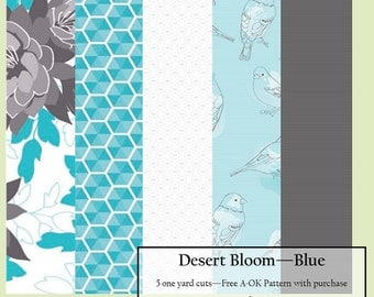 Desert Bloom Blue - Five Yard Fabric Bundle