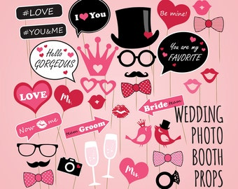 Wedding photo booth props, DIY Wedding party kit, Wedding photobooth props, Love heart be my Wedding set, Bridal Shower Photobooth Props