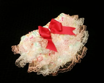 Baby girl ruffle diaper cover and headband bow set