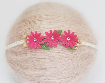 Newborn Photo Prop Pink Headband, baby prop headband, Chiffon Flower headband, Photo Prop Perl Headband, Newborn Headband, Baby shower RTS