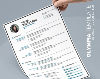 Simple Resume Template Instant Download, Word CV Template Design and Free Cover Letter, Simple and Clean | Olympia Resume