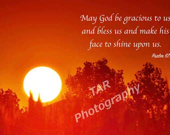 Brilliant Sunset with Scripture. Blank Photo Greeting Card. White or Black Frame Option. Texas Nature Photography.