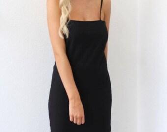 Black linen maxi dress