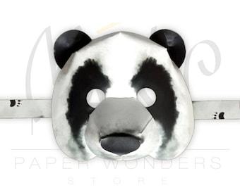 Panda mask. Panda costume mask. Panda bear mask. Panda party. Panda Birthday. Panda paper mask. Animal mask. Bear mask. Masquerade mask.