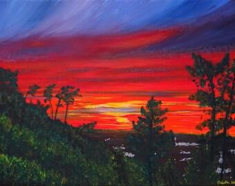 "Original Acrylic Painting ""Burning Sky"" 30x40cm Pintura acrílica Portugal"
