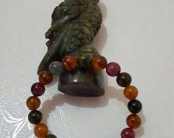 9 mm Natural Rainbow color/ Multi Color Tourmaline Beads Bracelet, Gemstones Bracelet (BEADJ1024)