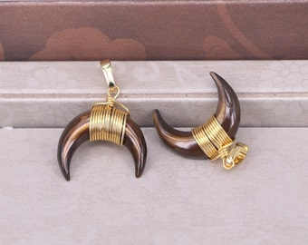 6pcs Brown Double Horn Pendants, Crescent Moon Pendant With Gold Wire Wrapped Double Horn Charms