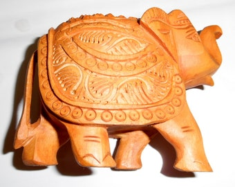 Jaipur Crafts Wooden Carved Elephant (Brown)