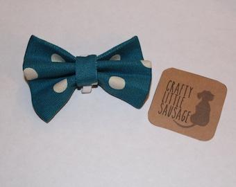 dog bow tie, polka dot print dog bow tie, doggy bow tie, dog clothing, puppy bow tie, detachable bow tie, pet bow tie, blue bow tie