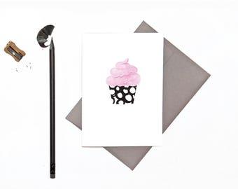 Birthday Card | Happy Birthday | Fairy Cake | Cupcake | Monochrome Card