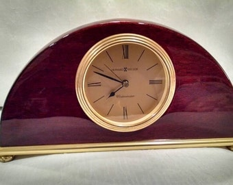 vintage westminster howard miller mantle clock glossy rosewood gold face brass details