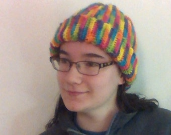Ribbed Rainbow Hat