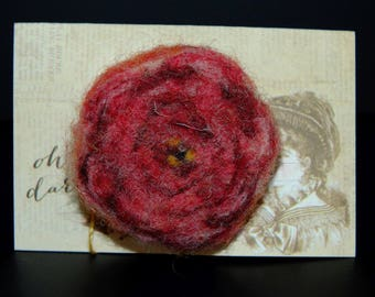 Flower Rose Felted Brooch