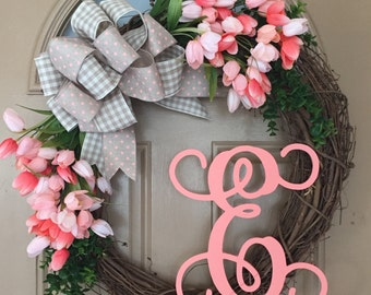 Tulip Wreath with Initial