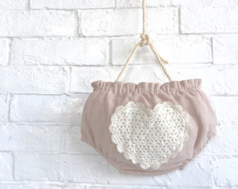 BABY ORGANIC BLOOMER / baby diaper cover / baby reversible bloomer / baby heart shape crochet bloomer