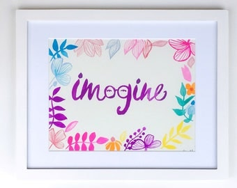 Imagine || Original Painting || Beatles inspired Lettering Art || 11x14 inches framed
