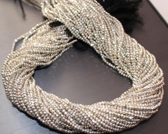 Coated Silver  Pyrite 2mm-2.5mm Rondelle Faceted Loose Beads Strand, Wholesale Lot Loose Beads, Pyrite Faceted Beaded Necklace Jewelry