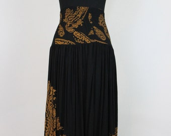 Cute Vintage Gold & Black Paisley Witchy Maxi Skirt