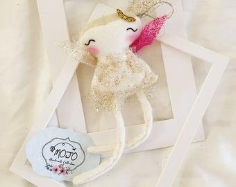 03G16 / Handmade doll / fabric doll / decorative / gift /miniature  / fairy / whimsy land / tooth fairy / dandelion / golden set