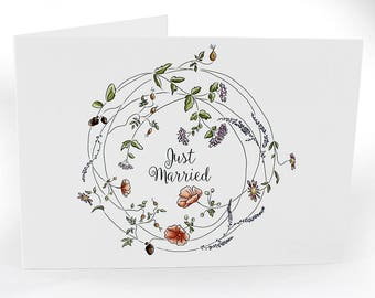 A6 Greetings Card With Envelope - Just Married, Floral Wreath. Blank Inside