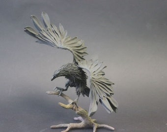 Figurine black Raven on branch,crow figurine,Raven sculpture
