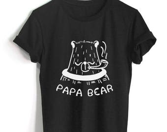 Papa Bear Smoking Cigarette T-Shirt Cigarette Shirt Funny Bear Print Shirt Unisex Size Tumblr Pinterest