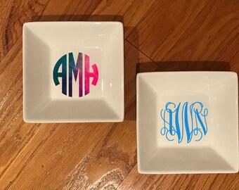 Personalized monogram ring dish, monogram ring dish, jewelry dish, bridesmaid gift, bridal party gift,