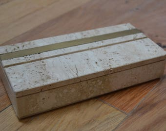 Vintage Limestone Jewellery / Pencil Case / Trinket Box / Paint brush holder